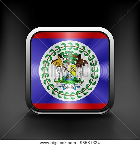 Square icon with flag of belize with reflection