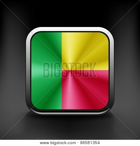Square button series - Benin flag national travel icon country symbol button
