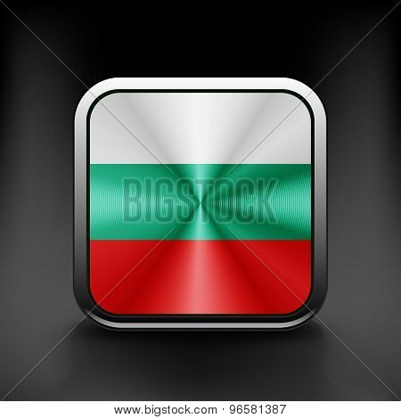 Bulgaria flag waving form on gray background. Vector illustration.