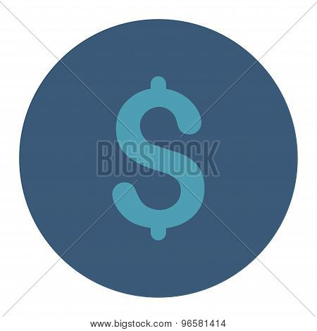 Dollar flat cyan and blue colors round button