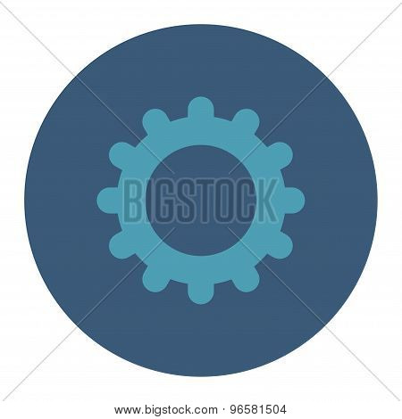 Gear flat cyan and blue colors round button