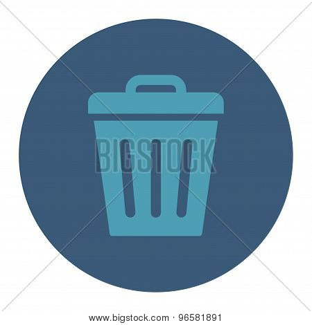 Trash Can flat cyan and blue colors round button