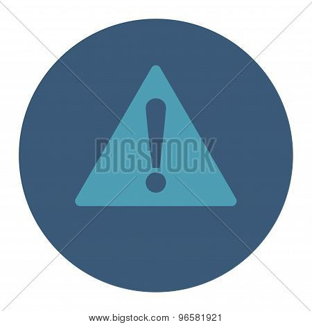 Warning flat cyan and blue colors round button