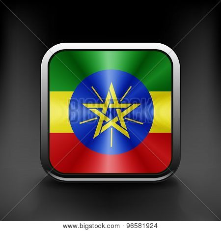 Ethiopia icon flag national travel icon country symbol button