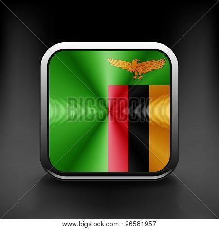 Zambia icon flag national travel icon country symbol button