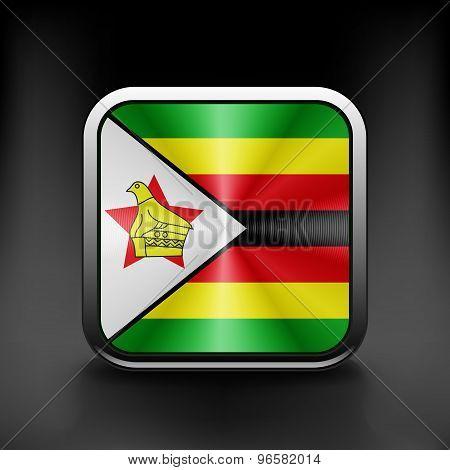 Zimbabwe icon flag national travel icon country symbol button