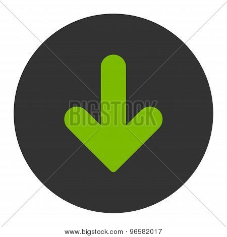 Arrow Down flat eco green and gray colors round button