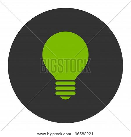 Electric Bulb flat eco green and gray colors round button