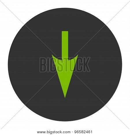 Sharp Down Arrow flat eco green and gray colors round button