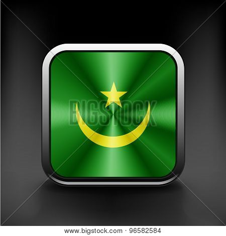 Flag of Mauritania as round glossy icon