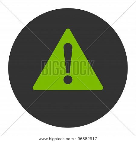 Warning flat eco green and gray colors round button