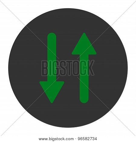Arrows Exchange Vertical flat green and gray colors round button