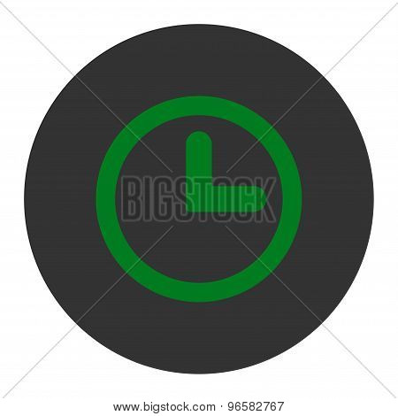 Clock flat green and gray colors round button