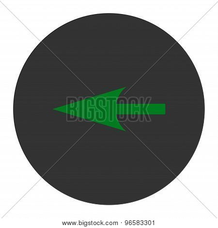 Sharp Left Arrow flat green and gray colors round button