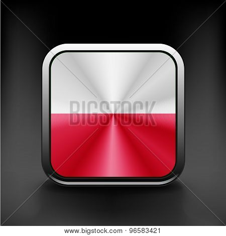 Flag of Poland glossy icon Button with Polish flag
