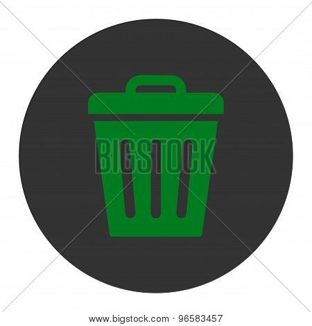 Trash Can flat green and gray colors round button