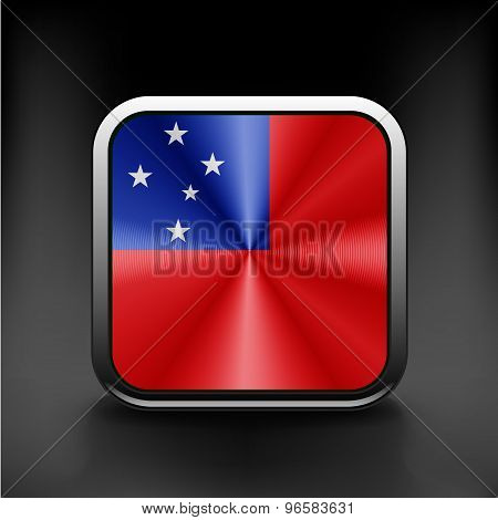 Flag of Samoa national travel icon country symbol button