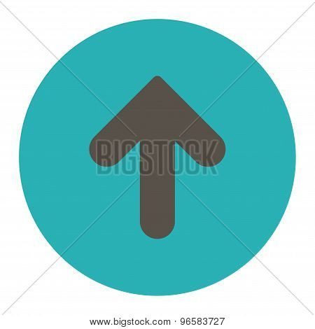 Arrow Up flat grey and cyan colors round button