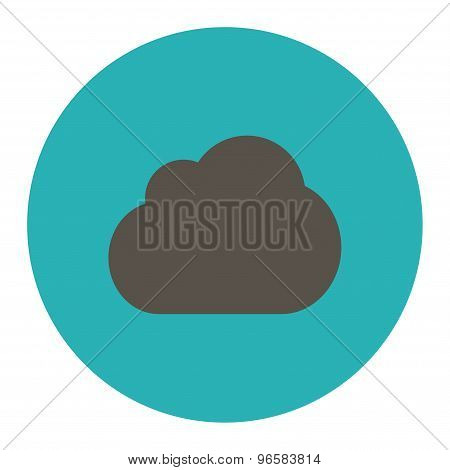 Cloud flat grey and cyan colors round button