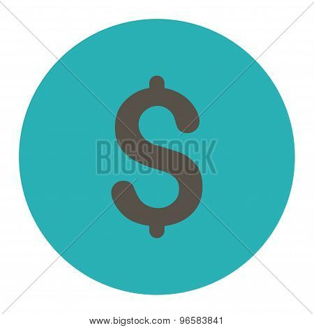Dollar flat grey and cyan colors round button