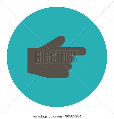 Index Finger flat grey and cyan colors round button