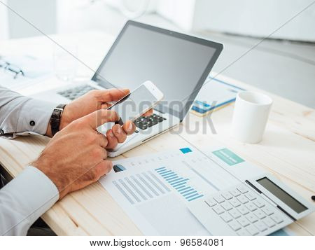 Businessman Using A Financial App