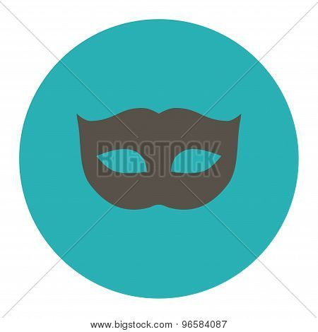 Privacy Mask flat grey and cyan colors round button