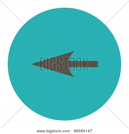 Sharp Left Arrow flat grey and cyan colors round button