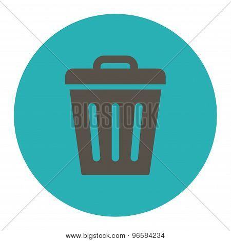Trash Can flat grey and cyan colors round button