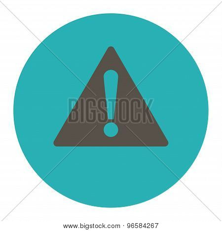 Warning flat grey and cyan colors round button