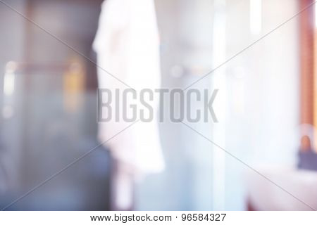 Bathroom with whirlpool, blurred texture background