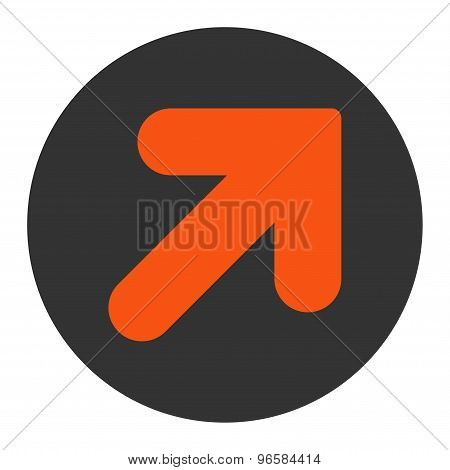Arrow Up Right flat orange and gray colors round button