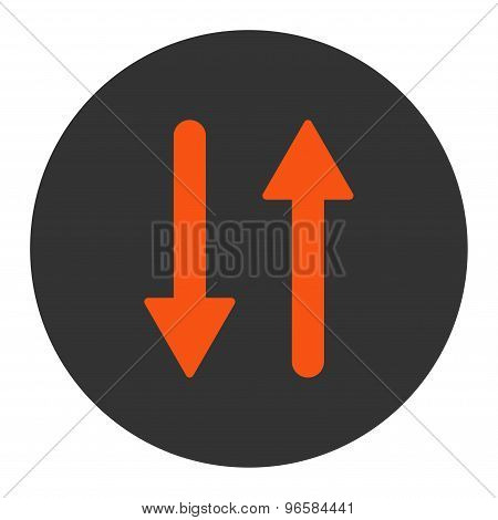 Arrows Exchange Vertical flat orange and gray colors round button