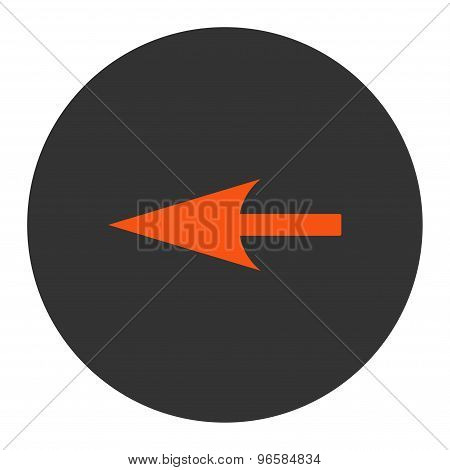 Sharp Left Arrow flat orange and gray colors round button