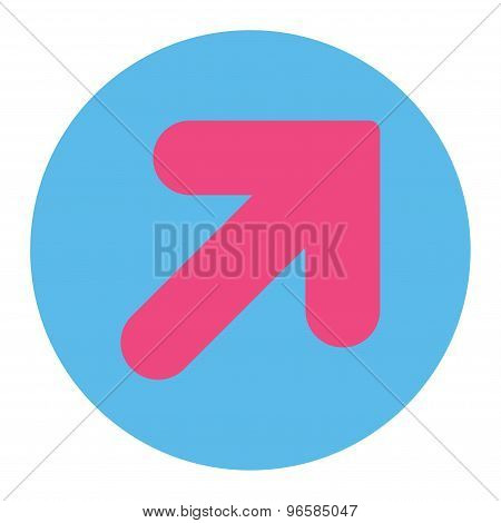 Arrow Up Right flat pink and blue colors round button
