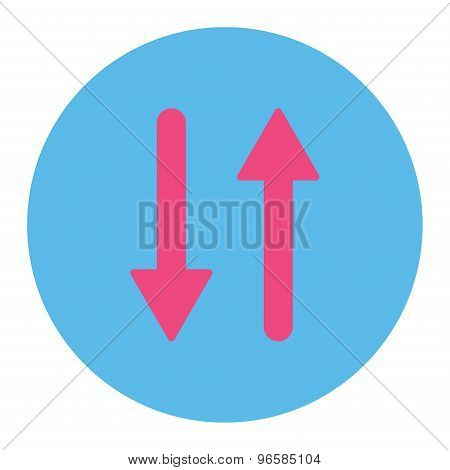 Arrows Exchange Vertical flat pink and blue colors round button