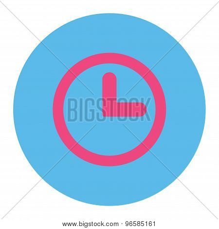 Clock flat pink and blue colors round button