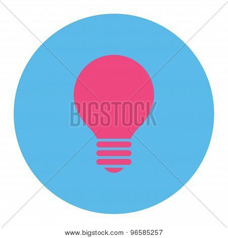Electric Bulb flat pink and blue colors round button