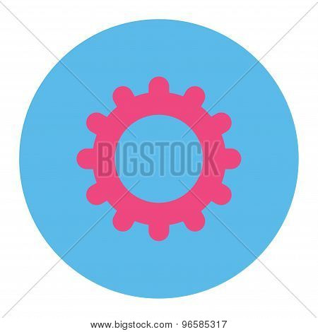 Gear flat pink and blue colors round button
