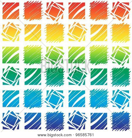 Repeating Rainbow Themed Square Block Pattern