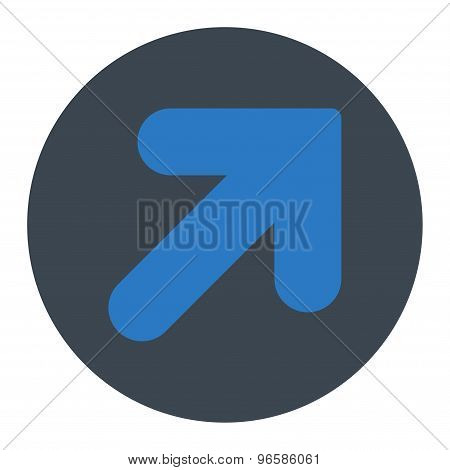 Arrow Up Right flat smooth blue colors round button