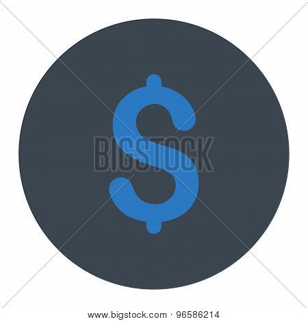 Dollar flat smooth blue colors round button