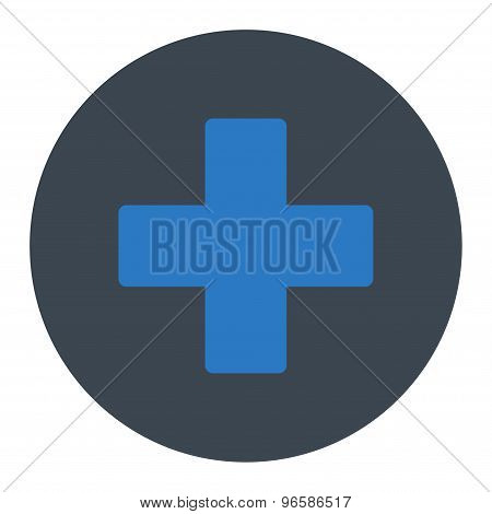 Plus flat smooth blue colors round button