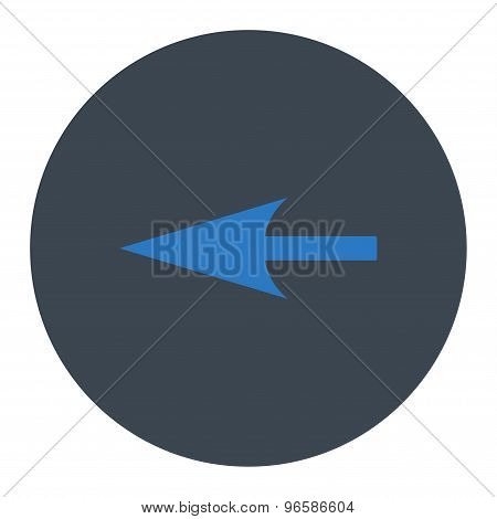 Sharp Left Arrow flat smooth blue colors round button