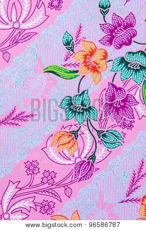 Abstract Bright Textile In Batik.