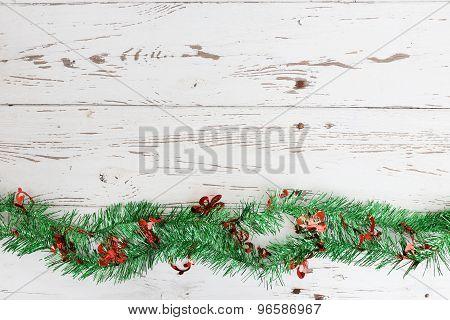 Christmas Decoration On White Wood Weathered Background