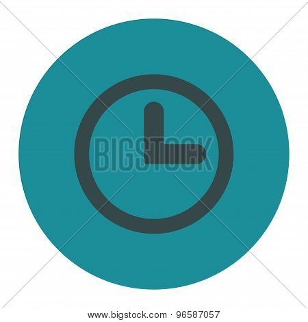 Clock flat soft blue colors round button