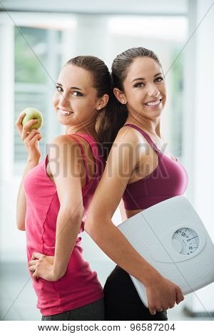 Happy Girls Dieting And Losing Weight