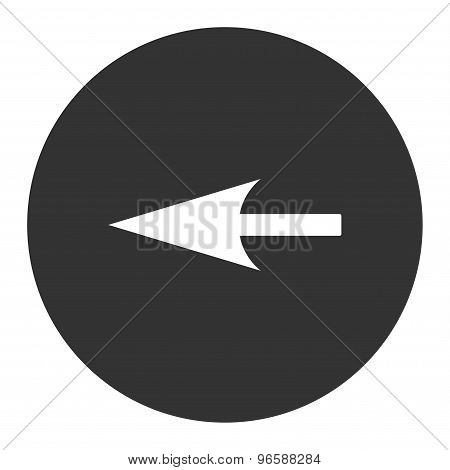 Sharp Left Arrow flat white and gray colors round button