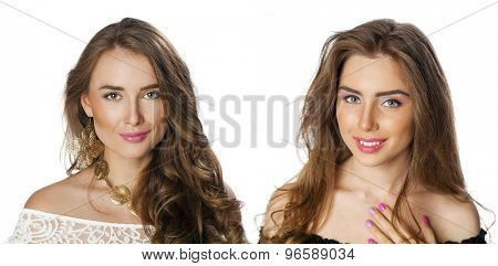 Glamorous portrait of two young beautiful woman isolated on white background